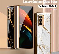 economico -telefono Custodia Per Samsung Galaxy Per retro Custodia flip Galaxy Z Fold 2 Galaxy Z Flip Resistente agli urti Placcato Con chiusura magnetica Paesaggi Geometrica Effetto marmo TPU Vetro temperato