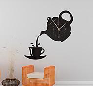 abordables -Creative bricolage 3d horloge murale acrylique tasse à café théière décorative cuisine horloges murales salon salle à manger décor à la maison horloge