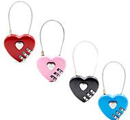 abordables -nouveau cadenas en forme de coeur 3 cadran chiffre mot de passe serrure bagages mot de passe cadenas double humeur amour serrure cadeau de voyage 4 couleurs