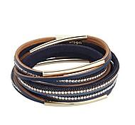 abordables -bracelet en cuir en couches pour femmes - tube de cristaux en métal enroulé autour de bracelets - avec fermoir magnétique bijoux cadeaux bleu marine