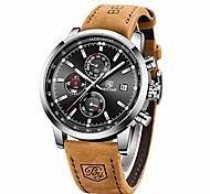 economico -orologio da uomo al quarzo impermeabile benyar, cronografo alla moda analogico orologio da lavoro in pelle marrone resistente all'acqua
