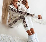 abordables -Femme basique Léopard Casual Quotidien Ensemble deux pièces Sweat à capuche Survêtement Pantalon Vêtements d'intérieur Cordon Patchwork Hauts