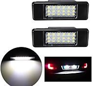 abordables -2 pcs 2 W 12 V 6500 K 18 LED SMD Plaque D'immatriculation Lampe Pour Peugeot 106207307308 Pour Citroen C3 C4 C5 C6 C8