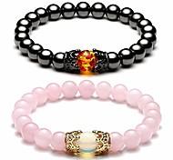 abordables -Roi&reine couronne distance couple bracelets son et sa relation bracelet d'amitié hommes femmes perles de pierres précieuses bracelets extensibles - pierre magnétique hématite + quartz rose