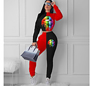 abordables -Femme Teinture par Nouage Rendez-vous Ensemble deux pièces Sweat à capuche Survêtement Pantalon Vêtements d'intérieur Patchwork Imprimé Hauts