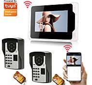 abordables -7 WIFI / Filaire Tuya App Monitor Système de téléphone de porte vidéo Caméra 1080p avec mot de passe d'empreinte digitale Enregistrement de mouvement de contrôle de téléphone à distance multi-langues