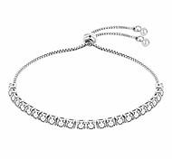 abordables -Argent plaqué diamant clair cristal taille réglable tennis lien bracelet bijoux pour femmes de mariage fiançailles de bal mariée femmes demoiselle d'honneur filles