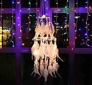 economico -3d led boho acchiappasogni regalo fatto a mano appeso a parete arredamento arte ornamento artigianato piuma 15 * 70 cm per bambini camera da letto festival di nozze