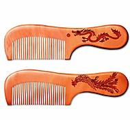 abordables -peigne à cheveux en bois naturel anti-statique sans accroc brosse à cheveux à la main pour barbe moustache cheveux sans enchevêtrement peigne à cheveux larges et fins (avec poignée)