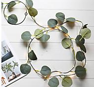 abordables -artificielle feuille d'eucalyptus rotin guirlande guirlande guirlande de vigne guirlande lumineuse 6.6ft 20 led fil de cuivre alimenté par batterie décor pour la maison cuisine jardin bureau mur de