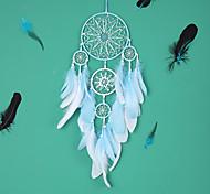 economico -led boho acchiappasogni regalo fatto a mano appeso a parete arredamento arte ornamento artigianato piuma 5 cerchi 65 * 16 cm per bambini camera da letto festival di nozze