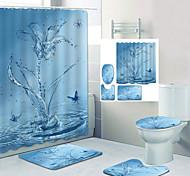 economico -farfalla spruzzi d'acqua stampa digitale set di quattro pezzi tende da doccia ganci moderna macchina in poliestere fatto bagno impermeabile