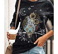 abordables -Tunique Femme Quotidien Animal Manches Longues Imprimé Col Rond Hauts Standard Haut de base Noir Bleu Vert
