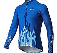 economico -21Grams Per uomo Manica lunga Maglia da ciclismo Inverno Poliestere Blu Bicicletta Maglietta / Maglia Superiore Ciclismo da montagna Cicismo su strada Tenere al caldo Asciugatura rapida Traspirante