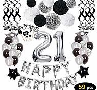 abordables -21e anniversaire décorations, 21e joyeux anniversaire décorations ballons fournitures de fête, 21 ballons d'anniversaire bannières confettis suspendus tourbillons papier pompons gâteau, pour ses