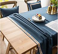 abordables -Nappe américaine de couleur pure tissu imperméable nappe unie nappe de ménage brodée épaisse imitation coton lin