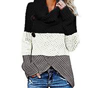 economico -Per donna Lavorato a maglia Orlo asimmetrico Monocolore Maglione Manica lunga Maglioni cardigan A collo alto Autunno Nero Blu Marrone