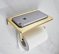abordables -porte-papier toilette étagère de salle de bain en métal créatif avec étagère de rangement pour téléphone portable mural or brossé 1 pc