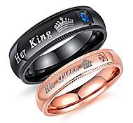 economico -Coppia di anelli coordinati da 2 pezzi, la sua regina e il suo re, anelli di promessa in acciaio inossidabile, fascia di fidanzamento (misura uomo 10& donne taglia 5)
