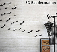 abordables -12 pièces / ensemble Halloween décoration 3D chauve-souris décoration sticker mural bricolage chambre stickers muraux décor de fête à la maison pour halloween stickers muraux 60 * 70 cm