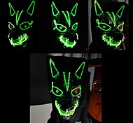 abordables -hommes et femmes halloween led streamer full face mask party wolf head ghost face clown horror glow mask