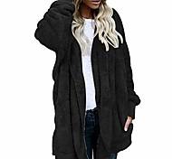 economico -Per donna Tinta unica Altro Casuale Autunno inverno Cappotto Lungo Casual / quotidiano Cotone Cappotto Top Rosa chiaro