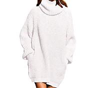 economico -Per donna Abito in maglia Mini abito corto Bianco Nero Vino Arancione Cachi Verde Blu Reale Marrone Grigio Manica lunga Tinta unica Collage Autunno Inverno A collo alto Casuale 2021 S M L XL