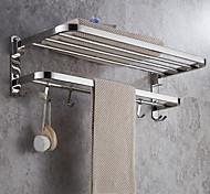 economico -Porta asciugamani multifunzione portasciugamani pieghevole moderno mensola da bagno in acciaio inox con ganci a parete argentata 1pz