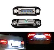 abordables -2 pièces 2 W 12 V 6500 K voiture 18LED plaque d'immatriculation ensemble d'éclairage pour Volvo S80 XC90 S40 V60 XC60 S60 C70 V50 XC70 V70