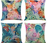 abordables -lot de 4 taies d'oreiller décoratives carrées en lin du monde marin coloré housses de coussin 18x18