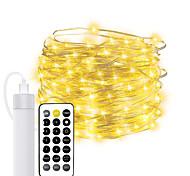 abordables -10m guirlande lumineuse 100 leds el avec câble usb 2pcs 1pc décoration de noël lumières led blanc chaud noël vacances chambre extérieur étanche décoration lumière rechargeable alimenté par batterie