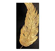 abordables -sans cadre 3d abstrait plume d'or 100% peint à la main peinture à l'huile sur toile à la main moderne toile art mural pour salon décor à la maison