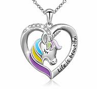 """abordables -La vie gravée en argent sterling 925 est belle licorne arc-en-ciel en collier coeur, chaîne rolo 18 """""""