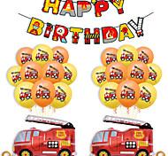 economico -Palloncini per feste 25 pcs Camion dei pompieri Buon compleanno Articoli per feste Palloncini in lattice bandiera Ragazzi e ragazze Feste Compleanno Decorativo 12 Inch per forniture per bomboniere o