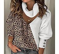 economico -Per donna Lavorato a maglia Leopardata Felpa Manica lunga Maglioni cardigan A V Autunno Inverno Bianco Cachi