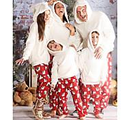 abordables -2 Pièces Regard de la famille Ensemble de Vêtements père Noël Animal Imprimé Manches Longues Normal Blanche