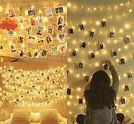 abordables -LED photo clip chaînes lumineuses pour la chambre 100 led 10 m cadre photo décoration pour la maison intérieure noël chambre de mariage (avec 50 chevilles en bois 20 clous)