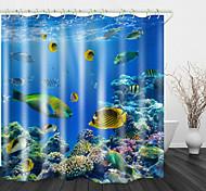economico -Coral fish stampa digitale tende da doccia ganci moderno poliestere nuovo design