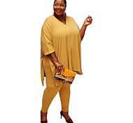 abordables -Femme Couleur unie Plein Ensemble deux pièces Pantalon T-shirt Hauts
