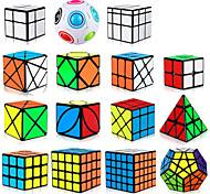 abordables -Ensemble de cubes de vitesse 15 pcs Cube magique Cube QI 2*2*2 3*3*3 4*4*4 Pack Speedcubing Cube de puzzle 3D Anti-Stress Casse-tête Cube Sans étiquettes Lisse Jouets de bureau Moulin à vent Pyramide