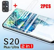 abordables -2 pièces 2 en 1 protecteur d'écran souple pour Samsung Galaxy S20 verre de protection S20 Ultra S20 plus film hydrogel objectif de la caméra
