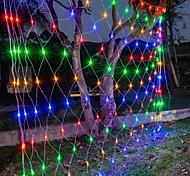 abordables -6mx4m 672 leds net lumières rideau lumières filet de pêche pour les vacances de noël décoration de fête guirlande lumineuse extérieure avec 8 modes non étanche linkable 220-240v