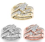 economico -Anello Oro rosa Oro Argento Strass Lega Lusso Elegante Di tendenza 3 pezzi 5 6 7 8 9 / Per donna