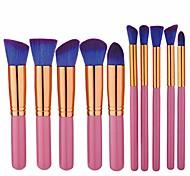 abordables -10 pièces kit de pinceau de maquillage professionnel pour le visage en bambou fond de teint crème liquide fard à paupières sourcil blush poudre de contour outil de brosse cosmétique