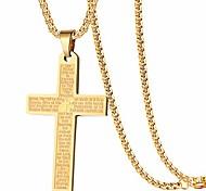 economico -versetto della Bibbia in acciaio inossidabile collane con ciondolo croce di preghiera del nostro padre signore per ragazzo uomo donna catena da 24 pollici in oro