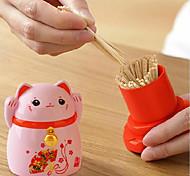 abordables -Chats chanceux cure-dents boîte de rangement style japonais maison cuisine bureau porte-cure-dents maison restaurant décoration cadeau