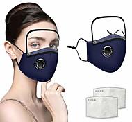 abordables -couvre-bandanas réutilisables avec protection oculaire amovible, hommes adultes femmes coton facr masl avec poche pour filtre, 2 feuilles de filtres à charbon gratuits (bleu marine)