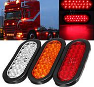 economico -2pcs 4.8w 6000k luci ovali per rimorchio rosso brillante 24led stop stop marker luci posteriori retromarcia con guarnizioni in gomma impermeabili per camion rimorchio barca rv