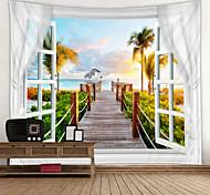 abordables -fenêtre paysage mur tapisserie art décor couverture rideau pique-nique nappe suspendu maison chambre salon dortoir décoration polyester mer océan plage palm pier