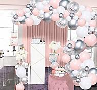 abordables -Kit de guirlande de ballons rose argenté, 100pcs confettis blancs et argentés ballons en latex métalliques arc avec bande de ruban de 16 pieds& colle à points pour douche de bébé fille, fête